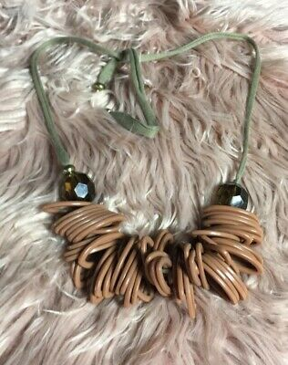 Vintage Anthropologie Brown Beaded Tie String Statement Necklace Womens Jewelry • 31.90£