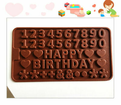 Happy Birthday Cake Silicone Mould Chocolate Fondant Jelly Ice Cube Mold • 2.25£