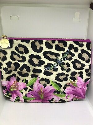 Estee Lauder Pink Leopard Print Lined Patterned Make Up Bag With Stickers NEW • 3.25£