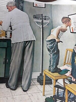 """$ CDN22.36 • Buy VINTAGE """"AT THE DOCTOR'S OFFICE"""" NORMAN ROCKWELL PRINT 12 X 15  Litho On Canvas"""