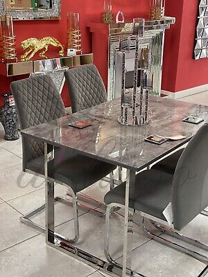 120x80cm Grey Marble Effect Glass Top Dining Table Set With 4 Chairs • 549.99£