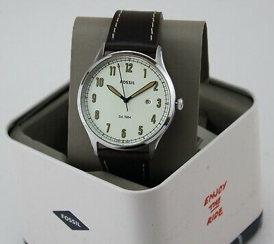 $ CDN62.24 • Buy New Authentic Fossil Forrester Silver Cream Brown Leather Fs5589 Men's Watch