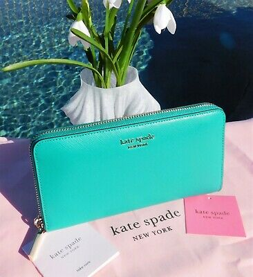 $ CDN123.04 • Buy 🌸 NWT Kate Spade Spencer Large Zip Around Continental Wallet Fiji Green New