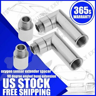 $23.99 • Buy 2x O2 OXYGEN SENSOR ANGLED EXTENDER SPACER 90 DEGREE 02 BUNG EXTENSION M18 X 1.5