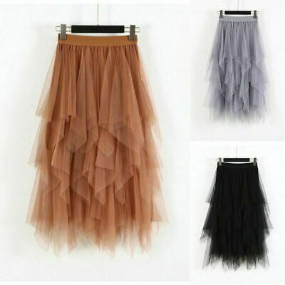Womens Elastic High Waist Mesh Tulle Tutu Skirt Layered Pleated Maxi Long Dress • 6.96£