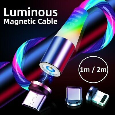 🇬🇧MAGNETIC LED Flowing Light Up Charge Cable For IPhone/Samsung/Mobile Phone • 5.49£