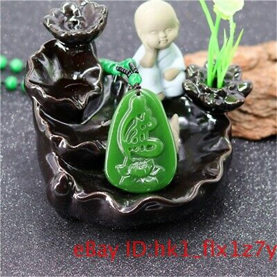 $ CDN6.30 • Buy Green Jade Lotus Pendant Necklace Jadeite Flower Amulet Jewelry Gifts Natural