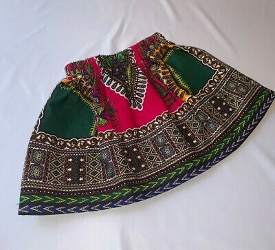 Pink & Green Dashiki/African Print Skirt For Girls And Toddlers • 12£