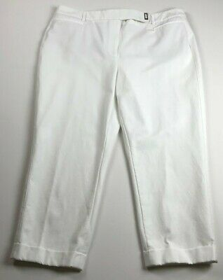 $ CDN27.05 • Buy WHBM Women's The Slim Crop Pants 14 White Flat Front Pockets Career Work Casual