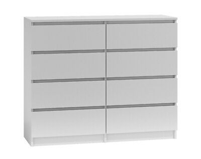 MODERN - White Chest Of 8 Drawers Large - Matt Finished • 129.99£