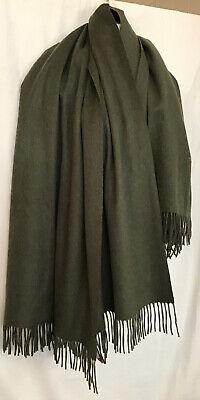 """Collection Fifty Nine Home Olive Green Cashmere Throw Fringe Edges On End 61x28"""" • 89.41£"""