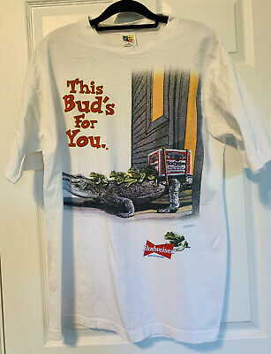 """$ CDN36.65 • Buy Vintage Budweiser Frogs T-Shirt 1996 XL """"This Bud's For You"""""""