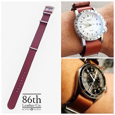 $29.99 • Buy Premium Leather Military Style One Piece Watch Strap Band 20/22mm Light Brown