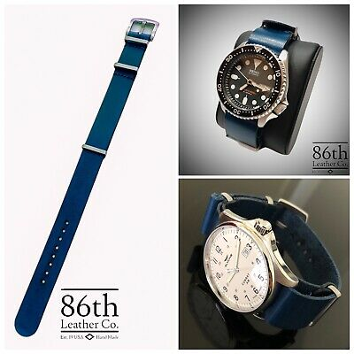 $29.99 • Buy Premium Leather Military Style One Piece Watch Strap Band 20/22mm Blue