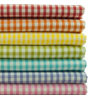 £3.99 • Buy Gingham Polycotton Fabric 1/8  & 1/4  Check Material 45  Dress Crafts Uniform