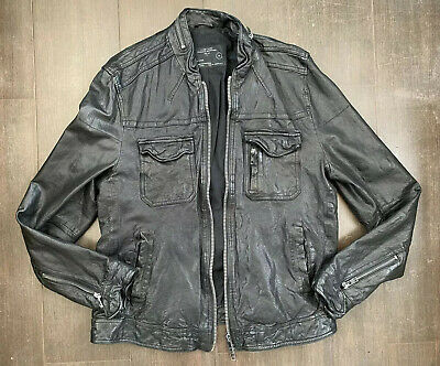 AllSaints 'COMMAND' Black Leather Biker Chore Jacket XL 44'  EXTRA LARGE VGC • 199£