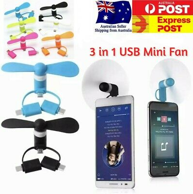AU8.98 • Buy Portable Cell Phone USB Mini Fan 3 In 1 For Iphone Android TypeC Quiet New Model