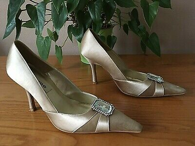 Dune Taupe Satin & Leather Court Shoes With Gem Stone Fronts UK 4 EU 37 Bridal • 14.99£
