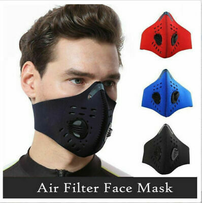 UK Face Mask Reusable Washable Anti Pollution PM2.5 Two Air Valve + Filter • 5.99£