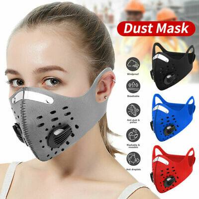 Face Mask Reusable Washable Anti Pollution PM2.5 Two Air Vent With Filter UK# • 4.99£