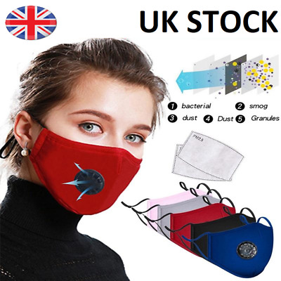 Washable Reusable Cotton Fabric Face Mask Respirator With Valve And PM2.5 Filter • 3.99£