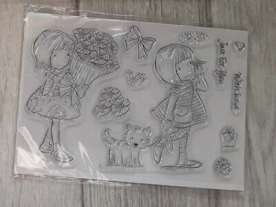 Kanban A6 Clear Stamps - Girl With Dog/ Flowers - Never Used • 3£
