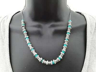 £4 • Buy 40cm Oasis Silver & Turquoise Tone Necklace Ref:C460