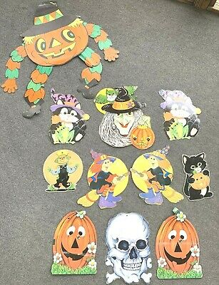 $ CDN39.58 • Buy Vintage Die Cast Halloween Decorations Fun Co Beistle ? Witch Skull Cat Jointed
