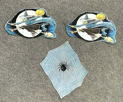 $ CDN50.80 • Buy Vintage American Greetings Die Cut Halloween Witch Spiderweb Set Of 3