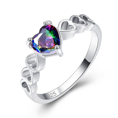 Ladies 925 Sterling Silver Ring Heart-shaped Rainbow Topaz Ring Engagement New • 4.16£
