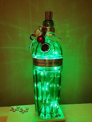 Stunning Tanqueray Gin Bottle Light With Festive Trim & Green LED Lights • 8.50£