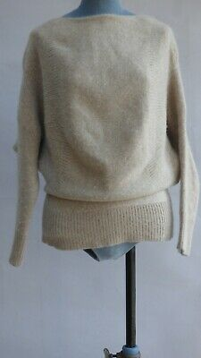 Theory 100% Cashmere JOAN ROYAL Beige Chunky Knit Jumper Sweater Slouchy M • 79.99£