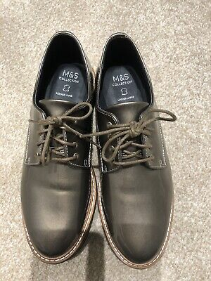 M&S Ladies Girls Pewter Leather Brogues Winter Trendy Party Work Shoes Size 4.5 • 10.99£