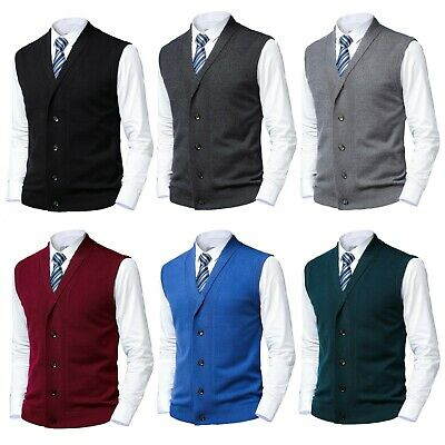 $24.50 • Buy Mens Button Sweater Vest Knitted Shawl Collar Sleeveless Cardigan