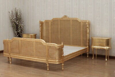 £1452.87 • Buy Bergere Column Bed With Rattan French Antique Gold In Mahogany,free Del