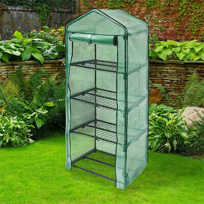 4 Tier Garden Greenhouse Plant Shelves Polytunnel Steeple Grow House PE Cover • 34.99£