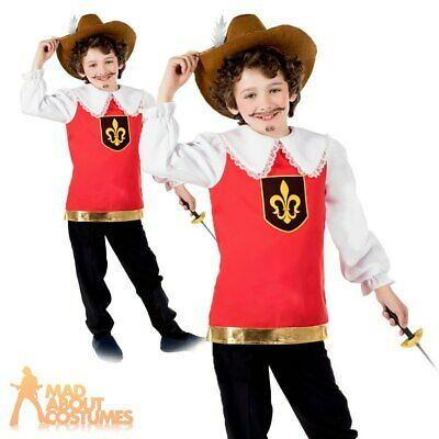 Child Boys Musketeer Costume French Medieval Book Week Day Kids Fancy Dress • 10.99£