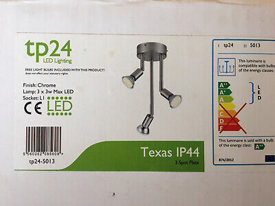 TP24 5013 Texas IP44 3 X 3.5W LED Ceiling Spot Light Satin Silver  • 14.99£