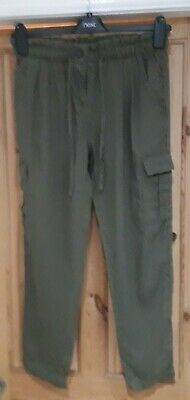 Next Size 8 Khaki Green Chino Tapered Cropped Ankle Grazer Trousers !! • 4.99£