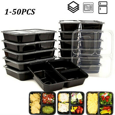 Reusable Meal Box Food Containers 3 Compartment Plastic  Disposable Lunch Box • 5.65£