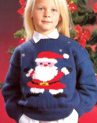 £1.89 • Buy Childrens Father Christmas Sweater / Jumper Dk Knitting Pattern 41