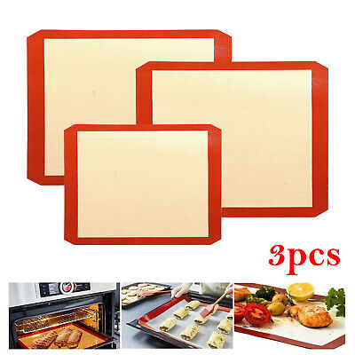 3pcs Silicone Baking Mat Reusable Non Stick Tray Cookies Pastry Sheet Oven Liner • 8.59£