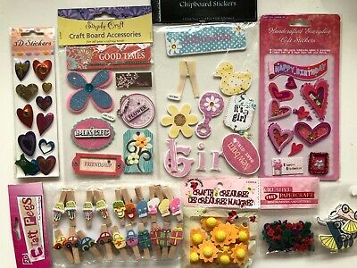 £3.98 • Buy 8 Packs Craft Embellishments Pegs/Sentiments/Girl/Numbers/Sunflowers/Hearts NEW