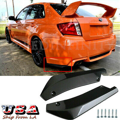 $27.99 • Buy Glossy Black Rear Bumper Canards Splitter Diffuser Spoiler Lip For Subaru WRX
