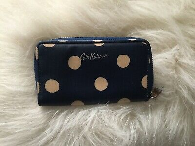 CATH KIDSTON *Button Spot*  SMALL FOLDED ZIP WALLET ~ Navy Blue  NEW • 13£
