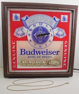 $ CDN52.20 • Buy Vintage Budweiser KING OF BEERS Light-Up Display Sign Clock CLYDESDALE HORSES