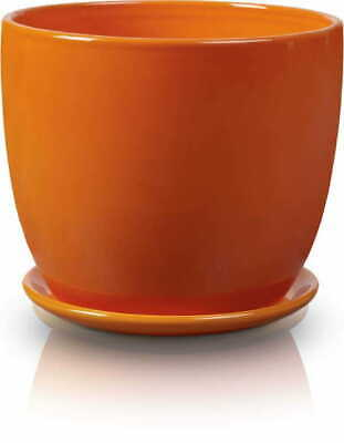8 Colours To Choose From-Ceramic Indoor Plant Flower Pot With Saucer .  . • 6.99£