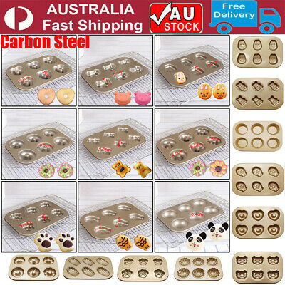 AU17.85 • Buy 12 Cavity Pan Tray Carbon Steel Cake Mould Cupcake Cookie Baking Mold Muffin Cup