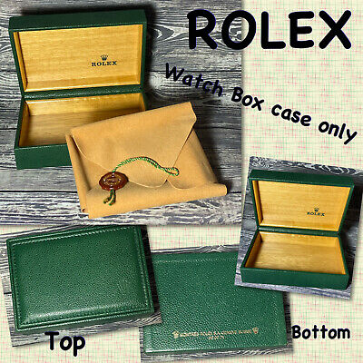 $ CDN116.78 • Buy VINTAGE Rolex Watch Box Case ONLY ~ Green Leather And Wood Interior 5  X 4  EUC