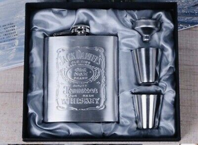 NEW Jack Daniels Stainless Steel Hip Flask Old No. 7 Tennessee Whiskey Set • 22.96£
